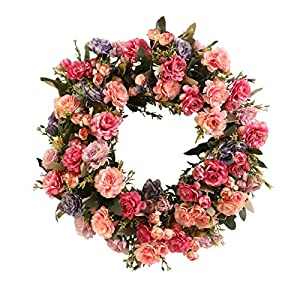 harygate 18 Inches Wreath for Front Door, Artificial Rhododendron Flower Wreath, Door Wreaths for Spring Summer All Seasons, Floral Wreath Garland for Farmhouse Office Home Wedding Decor