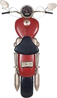 CAPRILO. Adorno Pared Decorativo de Metal Moto Roja Retro. Cuadros y Apliques. Muebles Auxiliares. Decoración Hogar. Regal...