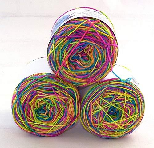 Die kleine Wollfabrik Ringel-Sockenwolle Neon (100g/75% Wolle, 25% Polyamid,LL420m/Farbe:Blau,Rosa)