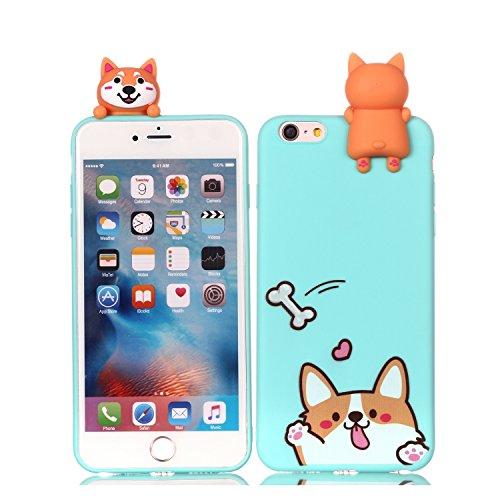 Yobby Cover iPhone 6,Cover iPhone 6S Slim Carina 3D Cartone Animato Animali Blu Cane Kawaii Modello Custodia Flessibile Morbida Silicone Gomma Antiurto Caso Protettivo