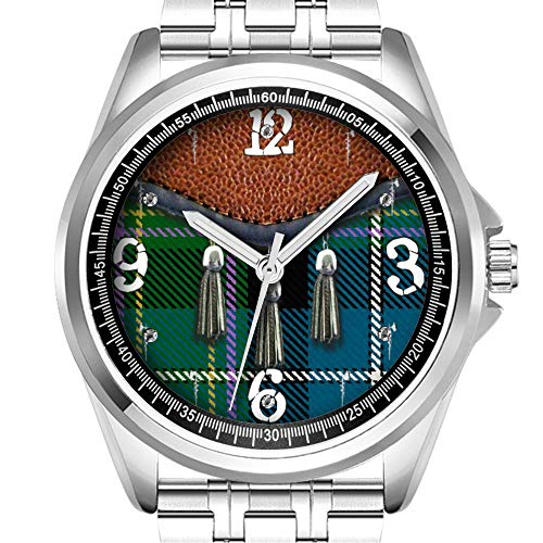 Personalisierte Herrenuhr, modisch, wasserdicht, Diamond_109.American Irish Plaid Tartan Custom Design