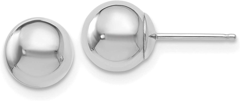 14k White Gold 7mm Ball Post Earrings 7x7 mm
