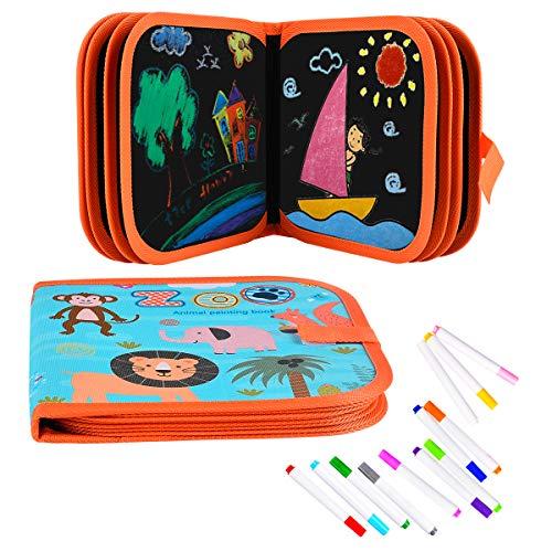 Funkprofi Malbuch für Kinder mit 12 Farbstiften, Graffiti-Zeichenbrett, Graffiti-Buch, Wiederverwenderbar, Tragbar, Abwischbar, 14 Seiten (Tierwelt)