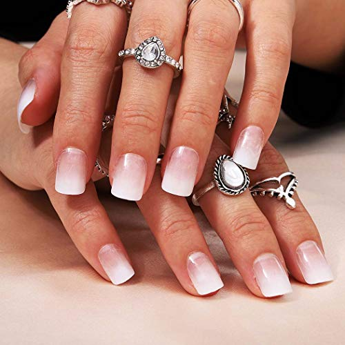 Bomine Press on Nails White Ombre Fake Nails Square Short Glossy False Nails Acrylic Full Cover Nails Tips for Women and Girls 24Pcs (Omber White) (Omber White)