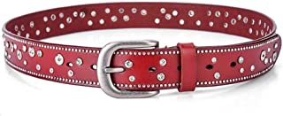 Fashion Casual Leather Belt with Rhinestones Women's (Color : Dark red)