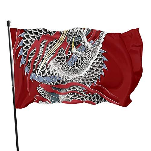 Emonye Viciony Yakuza Drache Tattoodekorative Gartenflaggen, 90 x 80 m, Flagge für den Innen- und Außenbereich