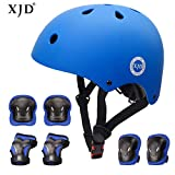 XJD Kids Bike Helmet Toddler Helmet 8-13 Years Boys Girls Adjustable Kids Protective Gear Set Knee Elbow Wrist Pads Cycling Roller Scooter Bicycle Skateboard Helmet from Toddler to Youth Blue M
