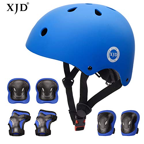 XJD Kids Helmet 8-13 Years Boys Girls Adjustable Sports Protective Gear Set from Toddler to Youth Helmet Knee Elbow Wrist Pads Cycling Roller Scooter Bicycle Bike Skateboard Protector Blue M