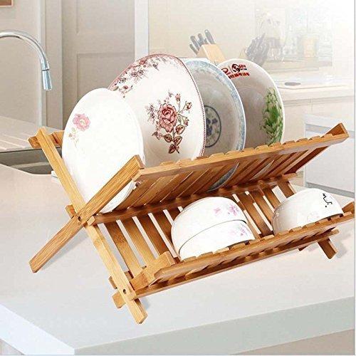 Dewel ディッシュラック 水切り 折りたたみ 皿立て 収納 プレート 皿 スタンド 竹製品 (平皿)