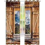 Cortinas opacas con aislamiento térmico, vista a la montaña y el cielo, ventana de madera con persiana en la parte superior de las colinas, aspecto natural, cortinas opacas de 52 x 95, multicolor