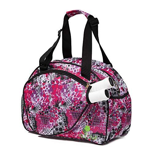 Pik'le'Ball Women's Premium Pickleball Bag. The Original Pickleball Tote. Water Bottle Holder, Racquet/Paddle Case, Fits More Than 2 Paddles. Athletic Bag, Sling Bag, Pink/Blue (Pink Dot)