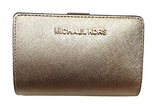 Michael Kors Jet Set Travel Bifold Zip Coin Leather Wallet Pale Gold, Small