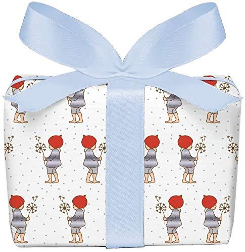 3er-Set Geschenkpapier Bögen für Kinder/Kindergeburtstag/Baby/Geburt Taufe mit WICHTELMÄNNCHEN in BLAU • Format : 50 x 70 cm