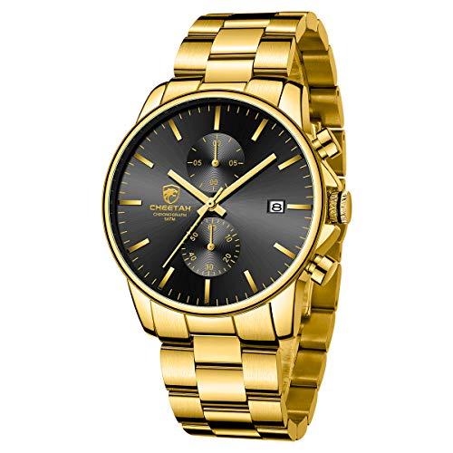 GOLDEN HOUR Relojes de Hombre con Correa de Metal de Acero Inoxidable Dorado a la Moda Casual Impermeable cronógrafo Reloj de Cuarzo, Fecha automática en Esfera Negra
