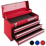 Arebos Werkzeugkoffer mit 3 Schubfächer (Rot)