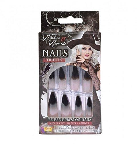 Lange künstliche Fingernägel schwarz-weiß selbstklebend Spitze Krallen für Hexen Monster Halloween Karneval