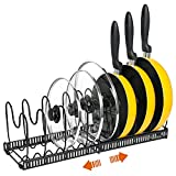 Pot Organizer Rack for Cabinet -Expandable Pots and Pans Organizer, Pot Holder Rack Fit for Kitchen Counter and Cabinet Pot Pan Lid Rack Bakeware Cupboard Organizer Rack Holder with 10 Adjustable Compartments