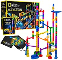 NATIONAL GEOGRAPHIC Glowing Marble Run – 80 Piece Construction Set with 15 Glow in The Dark Glass Marbles & Mesh Storage...