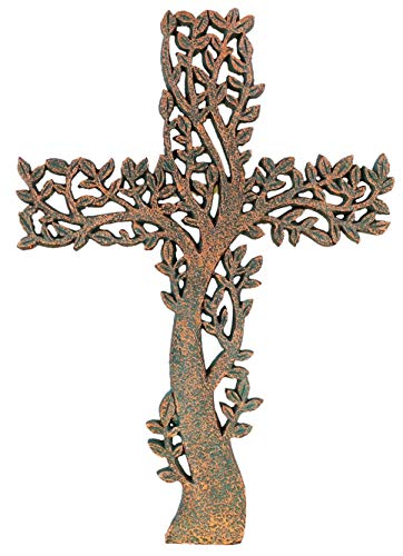Old River Outdoors Tree of Life Wall Cross - Rustic Copper/Verdigris Look Decorative Spiritual Art Sculpture