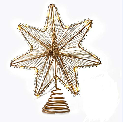 VersionTECH. Christmas Tree Topper with 20 LED Lights, Star Treetop Decorations with Battery Operated (2AA Battery Not Included), Christmas Tree Ornaments for Festival Xmas Tree, Gold
