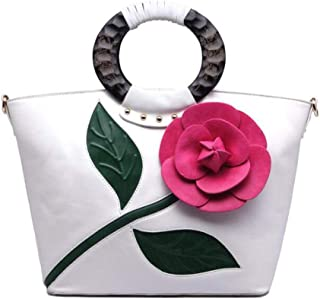 Trendy Lady Tote Bag Vintage Big Flower Tote Bag Fashion Dinner Tote Zgywmz (Color : White, Size : 31 * 14 * 28cm)