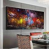Pintura en lienzo Nubes de colores Arte e impresiones Pintura al óleo abstracta Arte de pared moderno Imágenes Póster Decoración para sala de estar 60x120cm (23'x47') Sin marco