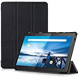 TTVie Hülle für Lenovo Tab M10 - Ultra Dünn & Leicht PU Leder Schutzhülle mit Standfunktion für Lenovo Tab M10 25, 5 cm (10, 1 Zoll HD IPS Touch) Tablet-PC 2018 Modell, Schwarz