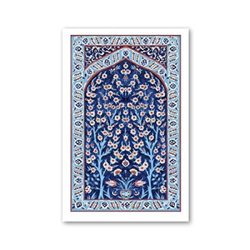 FGVB Azulejos turcos Árbol de la Vida Arte de la Pared Posters Impresiones Imagen Floral otomana Tradicional Decoración del hogar estética-50x70cmx1pcs -Sin Marco