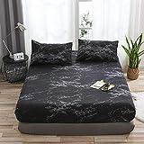 HPPSLT Protector de colchón, algodón, poliéster, Funda Protectora de sábana Antideslizante-Negra_153x203x35cm