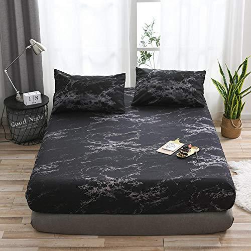Protection de Matelas, Drap-Housse en éponge Respirable pour Housse de Protection pour Drap de lit antidérapant-Noir_153x203x35cm