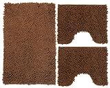 Set Tappeti Bagno 3 Pezzi in Microfibra, Tappeto Pelo Lungo 50x80 cm, 2 Tappetini per WC e Water Forma Rettangolare 40X50 cm, Morbido, Antiscivolo, Marrone