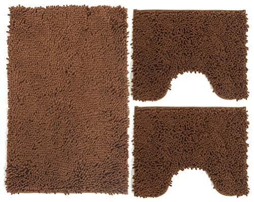 Juego de alfombrillas de baño de 3 piezas de microfibra, alfombra de pelo largo 50 x 80 cm, 2 alfombrillas para inodoro y agua, forma rectangular 40 x 50 cm, suave, antideslizante, marrón