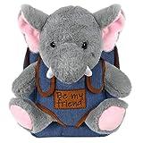 PERLETTI Mochila Infantil con Elefante de Peluche - Bolso Elefantito para Niños Niñas con Muñeco Extraíble para Escuela Guarderia Viaje - Bolsa Escolar Suave Juguetes - 21x27x9 cm (Elefante)