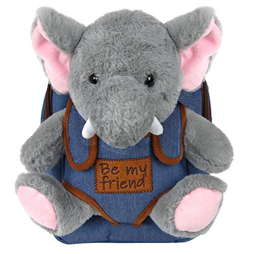 PERLETTI Kuscheltier Rucksack für Kinder mit Elefant Plüschtier - Pluschspielzeug Weich Flauschig Kindergarten Schultasche mit Plüsch Tier Tasche - 3 4 5 Jahren Baby Kindertasche 27x21x9 cm (Elefant)