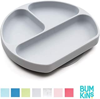 Bumkins Silicone Grip Dish, Suction Plate, Divided Plate, Baby Toddler Plate, BPA Free, Microwave Dishwasher Safe – Gray
