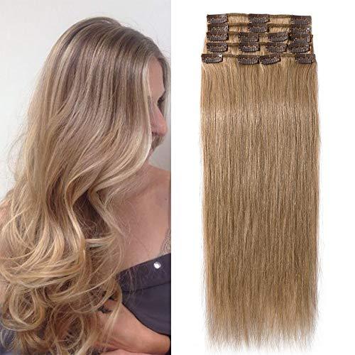 TESS Clip in Extensions Echthaar Dunkelblond #27 Remy Haar Extensions guenstig Haarverlängerung 18 Clips 8 Tressen Lang Glatt, 20