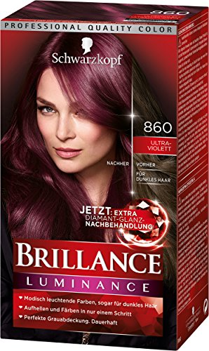 Schwarzkopf Brillance Intensiv-Color-Creme, 860 Ultraviolett Stufe 3, 3er Pack (3 x 143 ml)