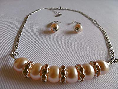 Collier ras de cou et boucles d'oreilles, cristal de swarovski nacré, chaîne en acier inoxydable, pêche, argent, bijou femme.