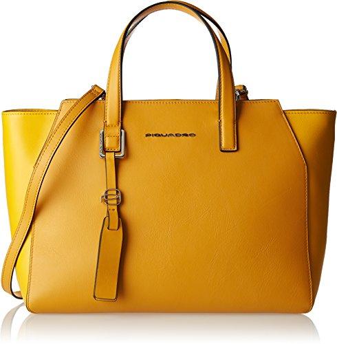 Piquadro Bd4326mus - Bolso de tela de Piel para mujer amarillo amarillo