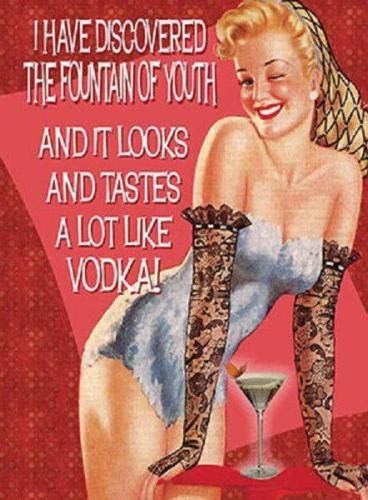 C-US-lmf379581 metalen muurbord plaque grappige humoristische leuk sexy vrouw grap wodka