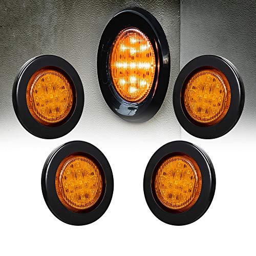 4pc 2.5 Amber Round Trailer LED Clearance Marker Lights [DOT FMVSS 108] [SAE P2] [Reflector Lens] [Grommet] [Flush-Mount] [Waterproof IP67] Marker Clearance Lights for Trailer Truck