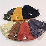 Aibccr Sombrero de Punto otoño e Invierno Nuevo diseño de Hebilla de Metal de Color sólido Sombrero frío de Lana