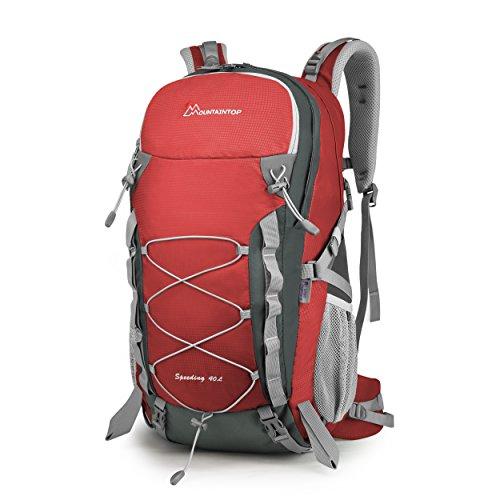MOUNTAINTOP Erwachsene 40L Rucksäcke Herren Damen Backpack Wanderrucksack Trekkingrucksack Outdoorrucksack für Klettern Camping (Rot)