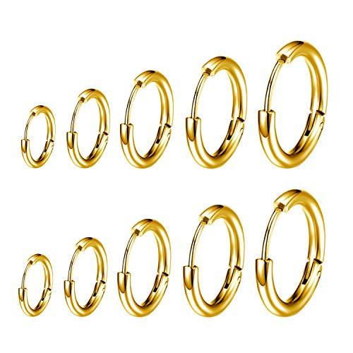 ZEEREE 5 Pares de Acero Inoxidable Pendiente Aro, para Hombre Mujer Unisex,8mm 10mm 12mm 14mm 16mm(dorado)