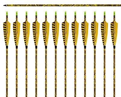 """ARCHERY SHARLY 31Inch Carbon Arrow Practice Hunting Arrows with 5"""" Camo Natural Feathers for Traditional Recurve Bow and Longbow"""