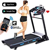 ANCHEER Treadmill, 3.25HP Folding Treadmills for Home with APP Control and Automatic Incline, Running Walking Jogging Machine for Home/Office/Gym Cardio Use (Black)