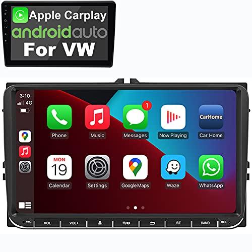 IYING Android 10 Radio automóvil CarPlay inalámbrico Autoradio para VW_Seat Passat Golf Skoda Pantalla IPS de 9 Pulgadas Am FM RDS Radio WiFi Bluetooth Audio Estéreo para automóvil con navegación