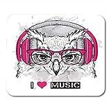 Alfrombrillas Head The Owl En Gafas Y Auriculares Hipster Asia Mousepad Decoración De Oficina Antideslizante Respaldo De Goma Alfombrilla para Ratón Gaming Mouse Pad 25X30Cm