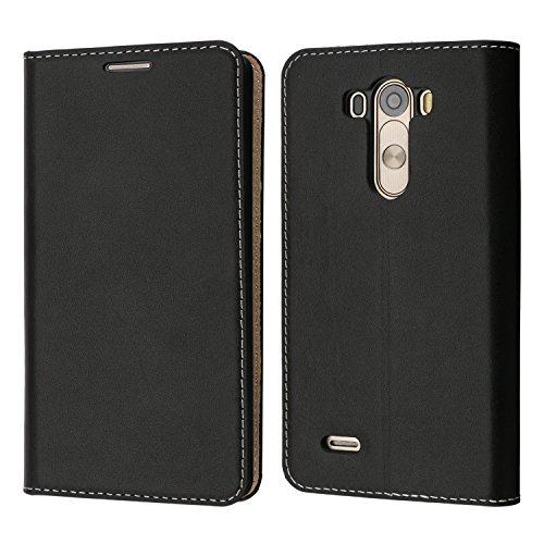 Custodia LG G3, Coodio Custodia Portafoglio in Vera Pelle, Custodia in Pelle LG G3, Custodia Pelle Portafoglio Cover con Porta Carte, Funzione Stand, Chiusura Magnetica Per LG G3