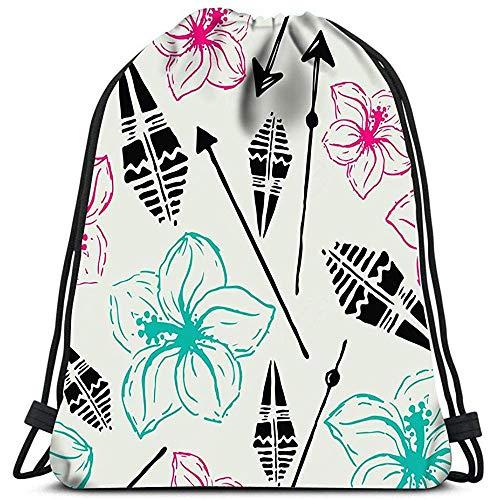 jenny-shop Mochilas con cordón Mochila Verano Flores Hawaianas Flechas Aztecas Negro Azul Rosa Bolsas de Viaje de Gimnasio